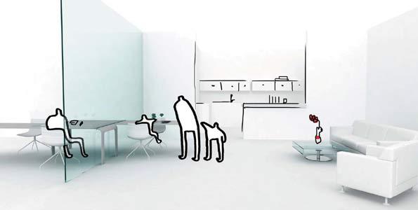 Despacho de la consultora Ofita en el que se muestran dos espacios complementarios y a la vez divididos que ejercen como despacho o habitación de trabajo de niños.