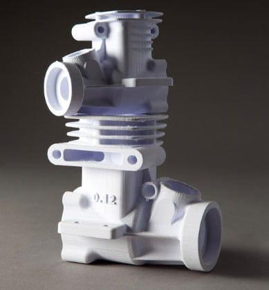 Pieza industrial creada con una impresora 3D a color.