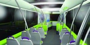 Aspecto del interior de los prototipos de autobuses futuros.