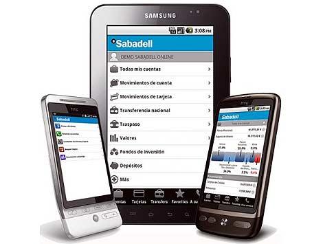 Servicios de Banco Sabadell en teléfonos móviles smartphone y dispositivos móviles.
