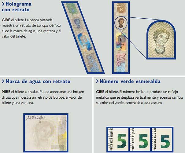 Medidas de seguridad del nuevo billete de 5 euros que estará en circulación en 2013.