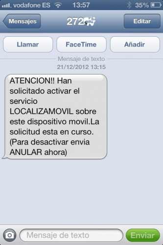 Pantallazo del fraude de 'Localiza tu móvil', un engaño tal y como señala la Policía.