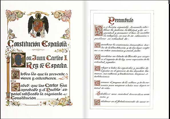 Primeras páginas de la Constitución de 1978.