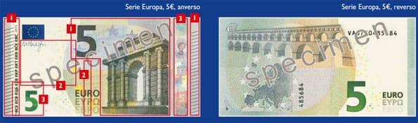 Nuevo billete de 5 euros que empezará a circular en mayo de 2013.
