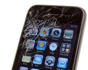 Pantalla rota de un iPhone.