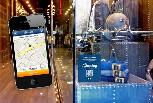 App iparquing para tener aparcamiento gratis cuando se va de compras.