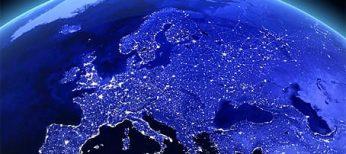 Mapa de Europa en donde se ven las principales fuentes de consumo de electricidad lumínica.