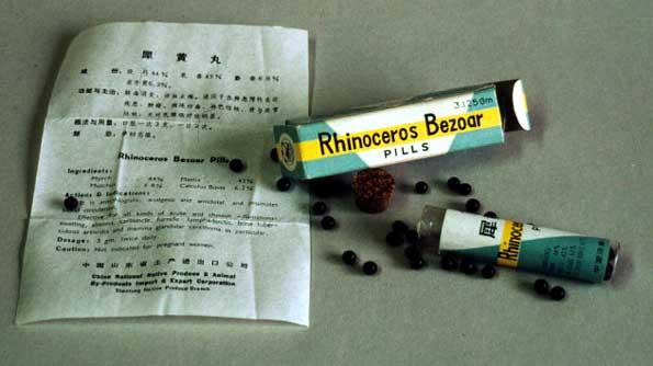 Pastillas medicinales de cuerno de rinoceronte en China.