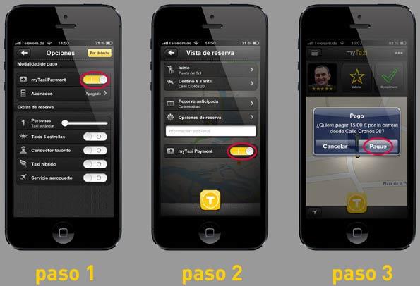 Pantallas del proceso de pago en un taxi con la app myTaxi en Madrid o Barcelona.
