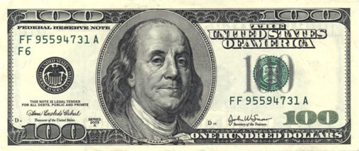 Billete de 100 dólares, como el que se usaba para realizar el timo de la falsa herencia.