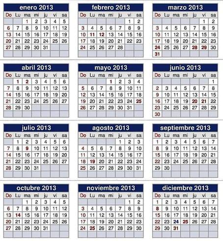 Calendario de festivos 2013.