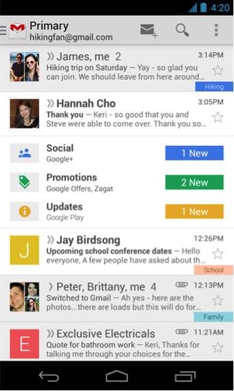 El nuevo Gmail para dispositivos móviles.