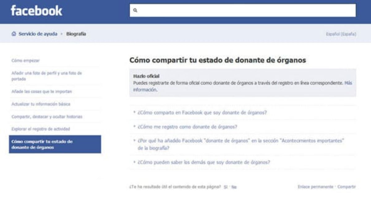 Campaña para registrarse en Facebook como donante de órganos.