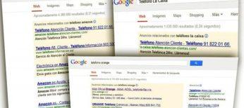 Simulan en Google ser los teléfono de atención al cliente de Orange o La Caixa para cobrarte hasta 4 euros si llamas