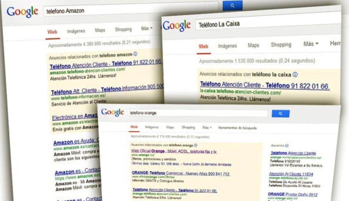 Los teléfonos falsos de Atención al Cliente que aparecen en Google.
