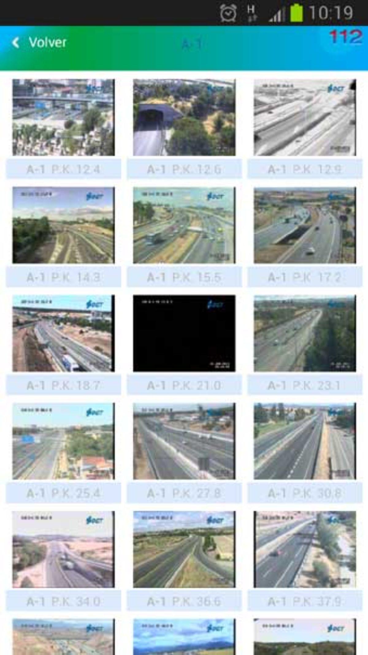 Cámaras en carretera de la nueva app de Tráfico.