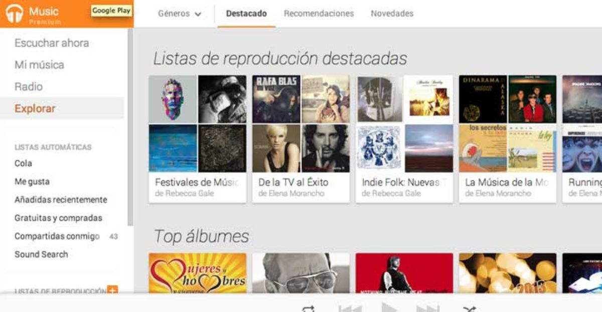 Pantallazo de Google Play Music.