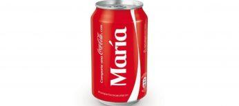 Lata de Coca Cola con el nombre de María.
