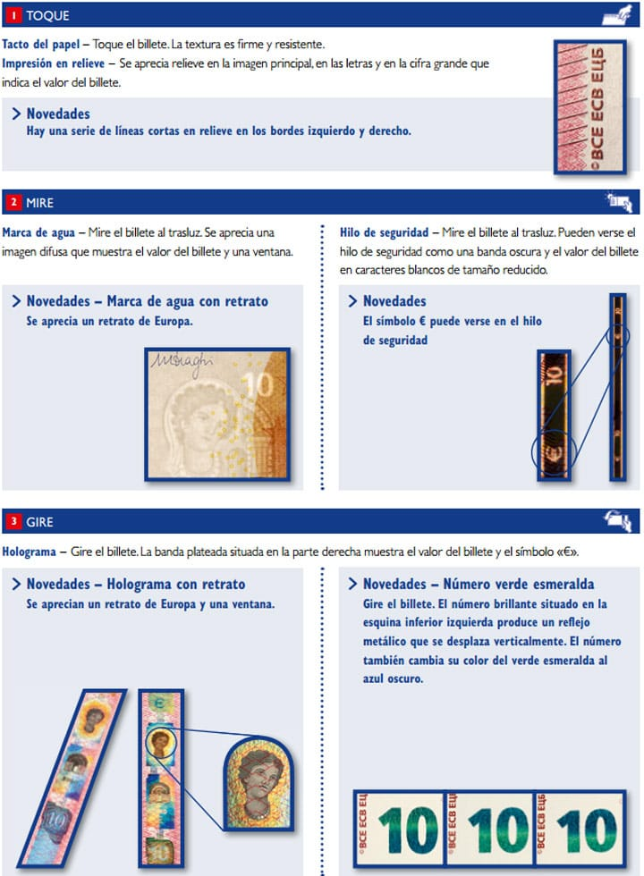 Toque, mire, gire, medidas de seguridad del nuevo billete de 10 euros.