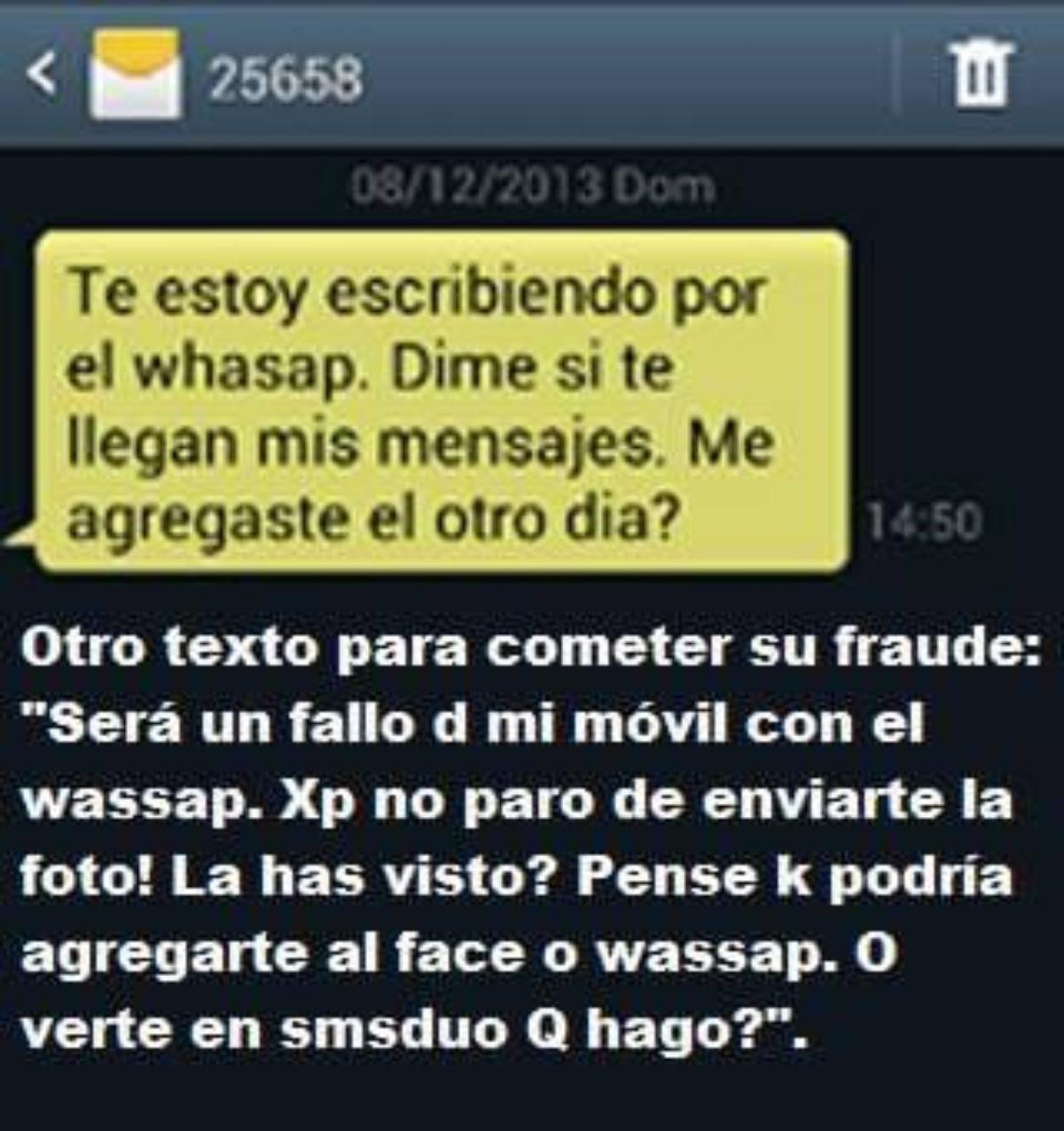 Mensaje al WhatsApp con el fraude del número de SMS Premium 25568.