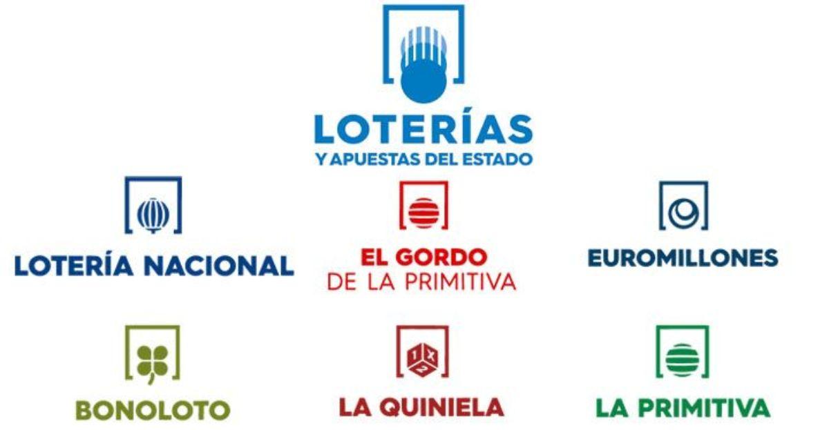 Logos de Loterias y Apuestas del Estado con detalle de los sorteos de Euromillones, Primitiva, Bonoloto, Gordo de la Primitiva, La Quiniela y la Lotería Nacional