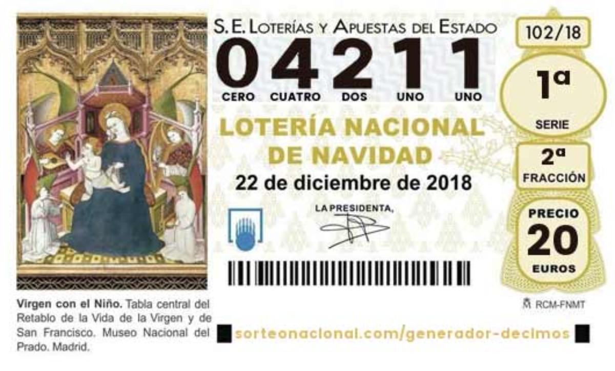 4.211 es el tercer premio del Sorteo de Lotería de Navidad 2018