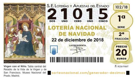 21.015 Segundo Premio de Lotería de Navidad