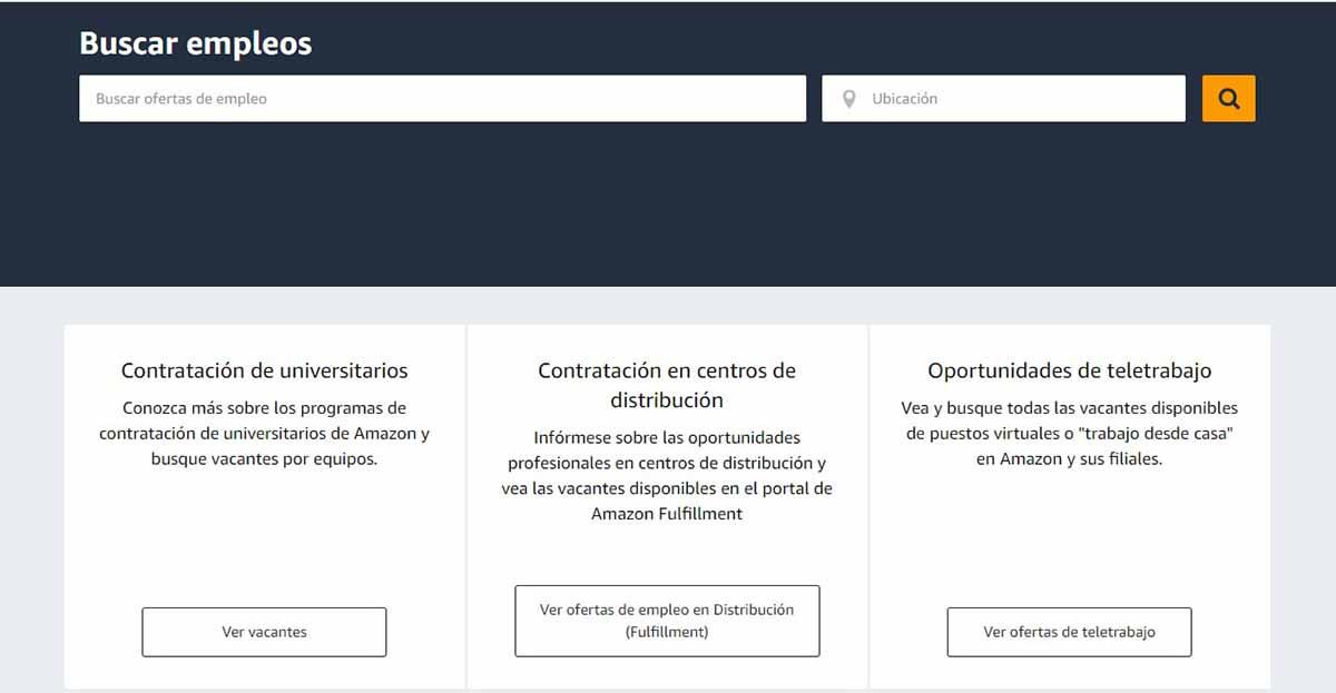Buscador de empleo del portal de Amazon