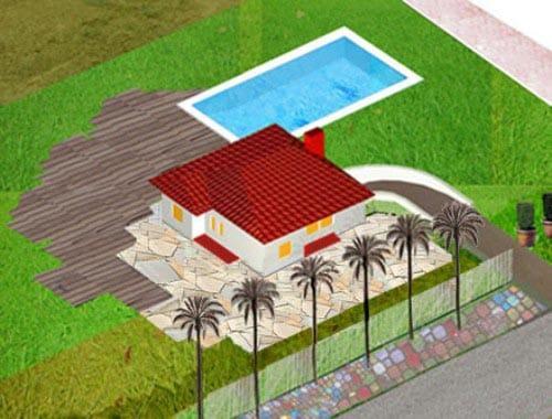 Patio y exteriores de una vivienda giratoria