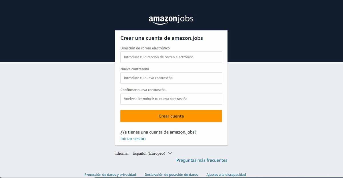 Crear una cuenta en Amazon Jobs