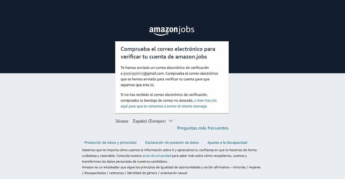 Solicitud de inscripción en Amazon Jobs