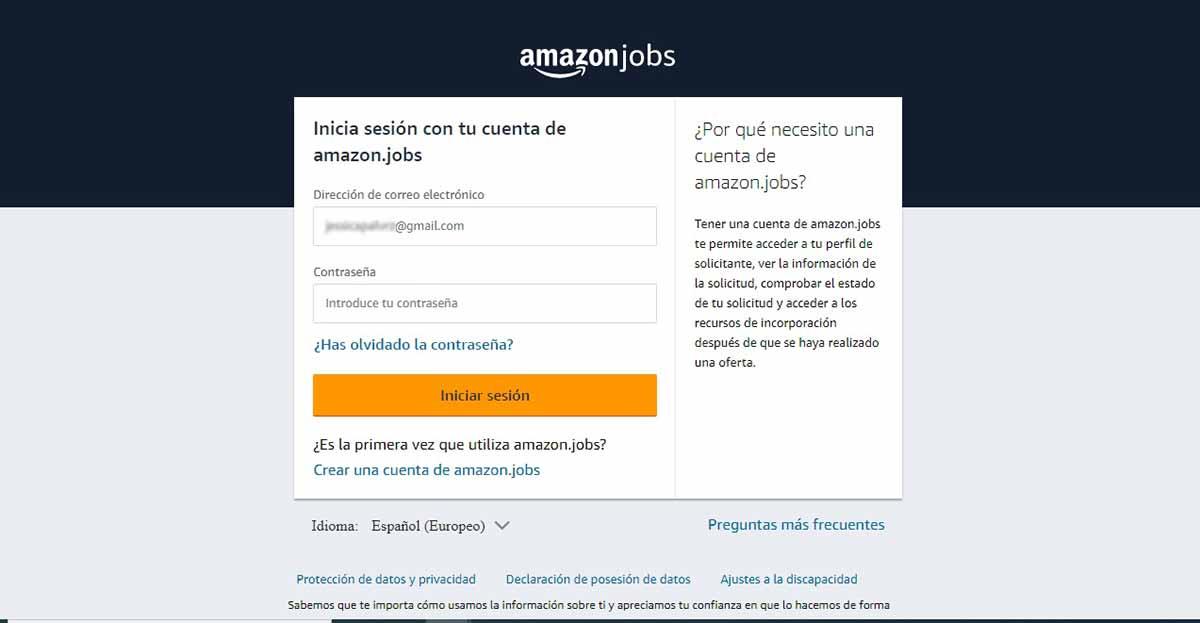 Confirmación de cuenta en Amazon Jobs
