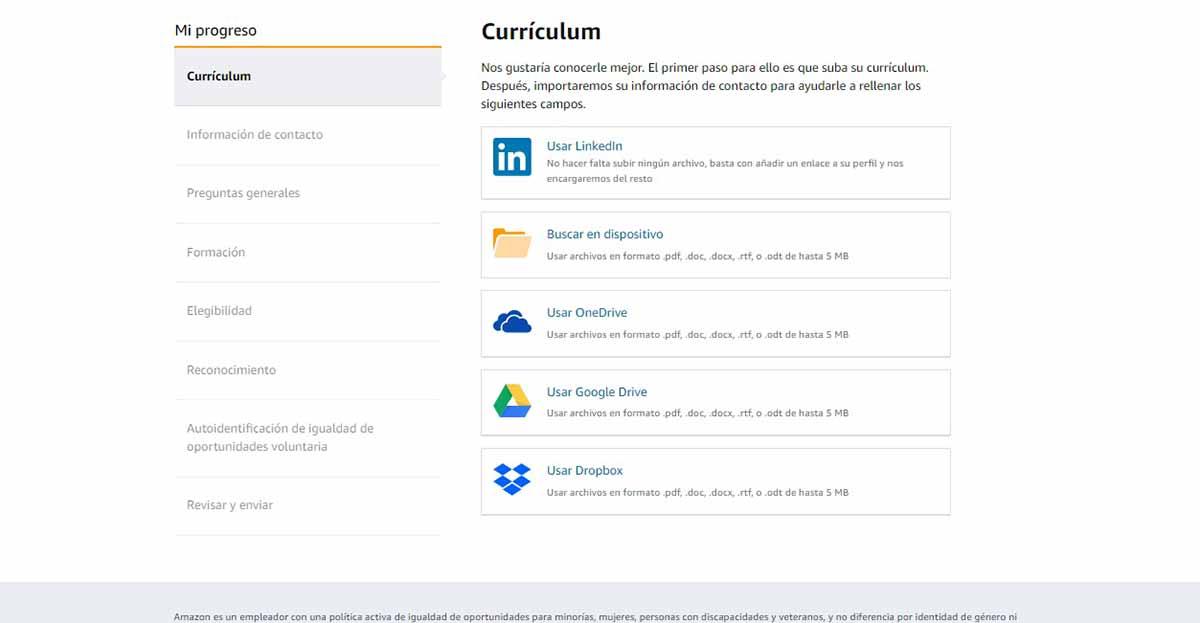 Subir el currículum a Amazon
