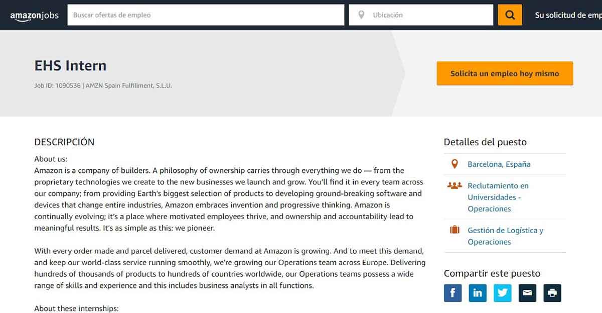 Descripción del puesto de empleo de Amazon