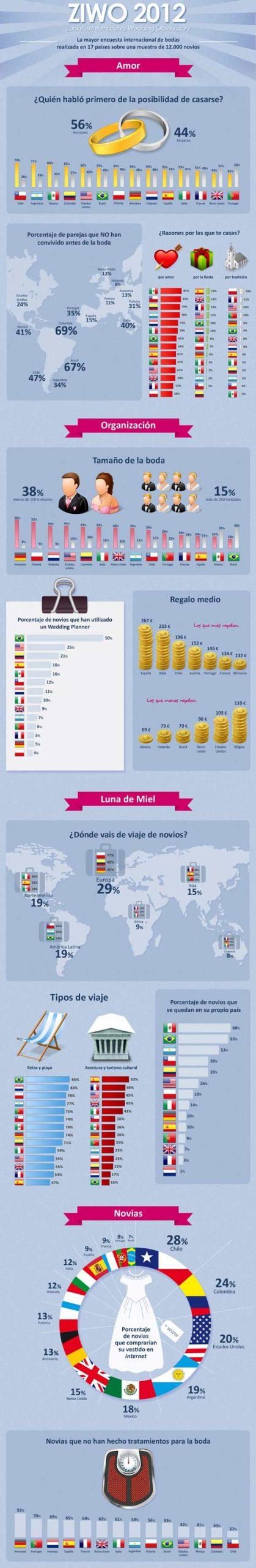 Infografia de un estudio sobre los preparativos de una boda.