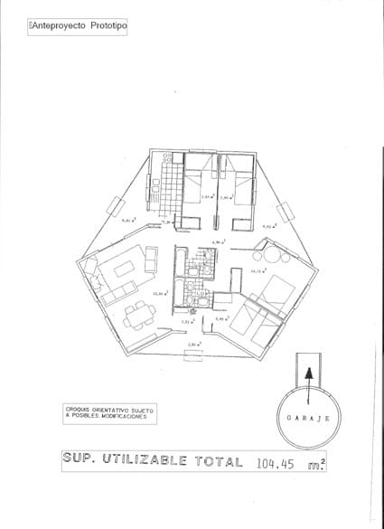 Plano de la base de una casa giratoria