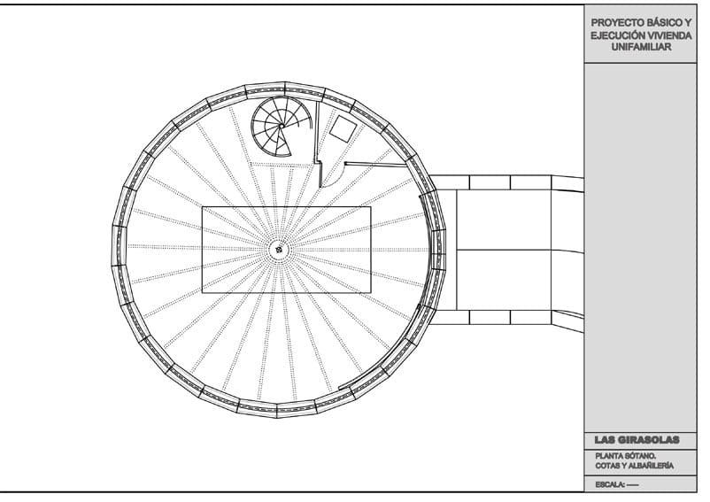 Plano de la base circular de una vivienda giratoria