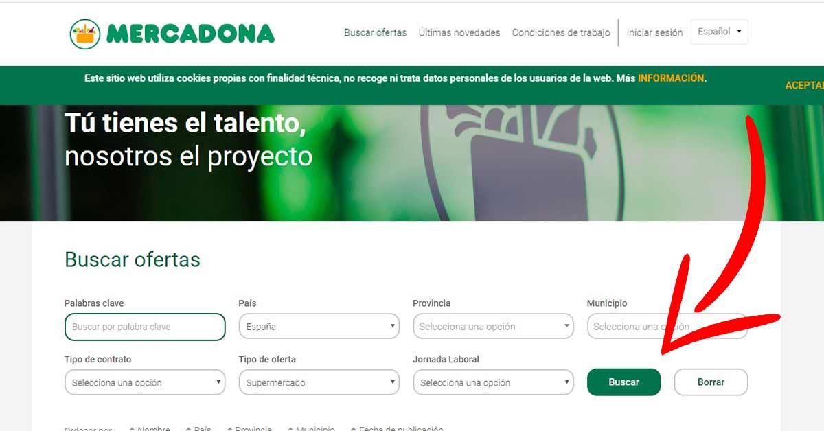 Página del portal de empleo de Mercadona