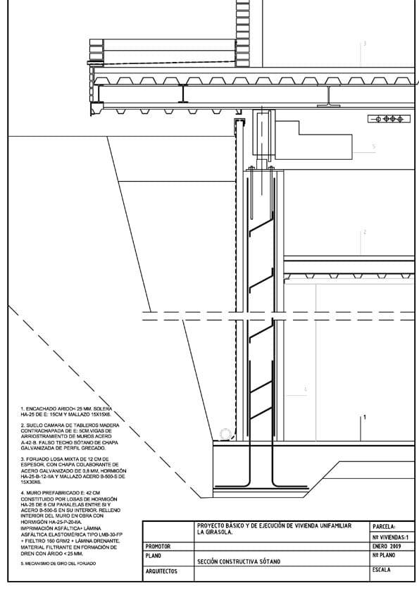 Plano de frente de una estructura de vivienda giratoria