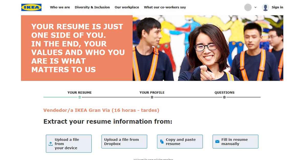 Presenta tu curriculum en la candidatura de trabajo a IKEA