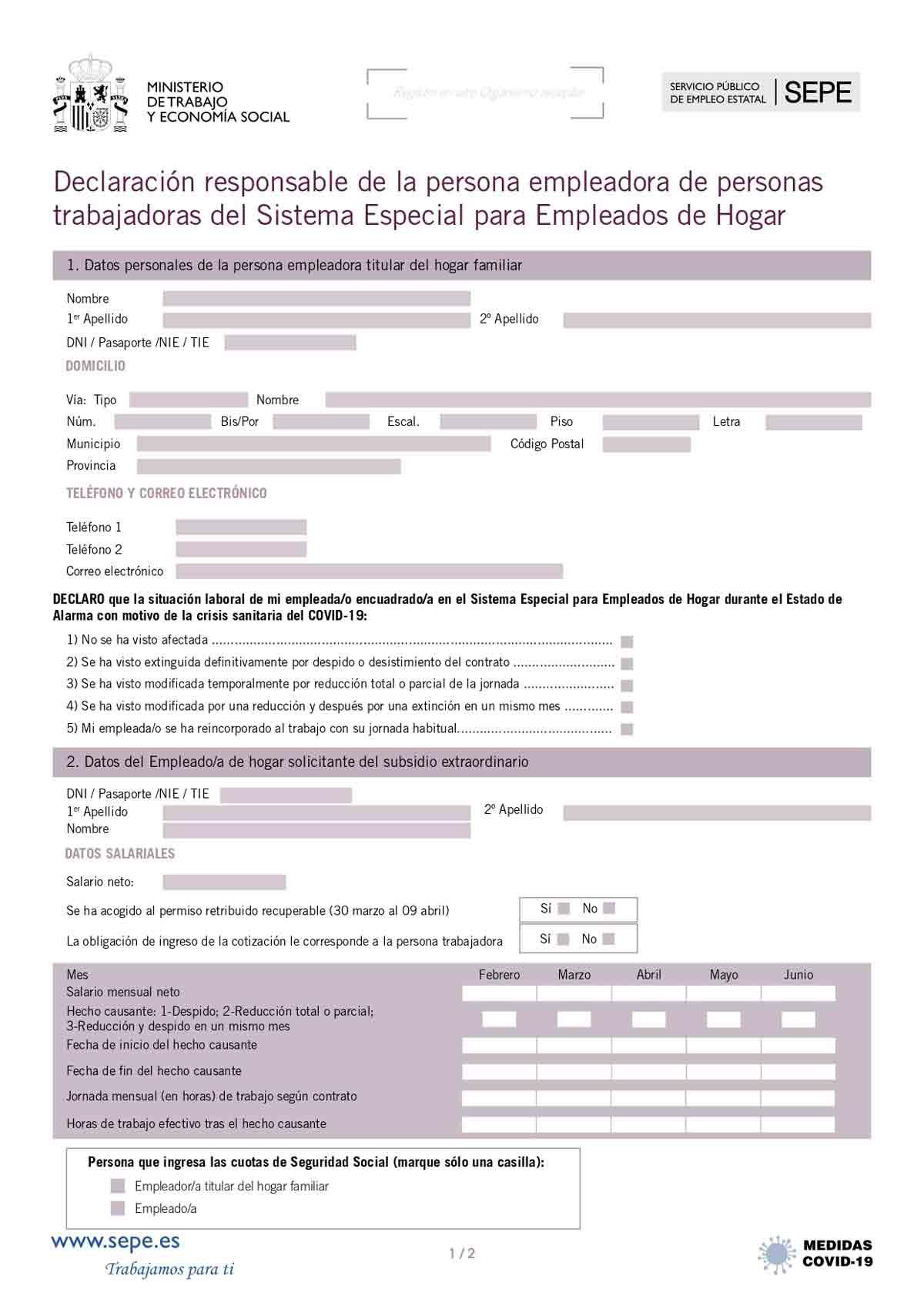 Declaración responsable empleadas del hogar página 1