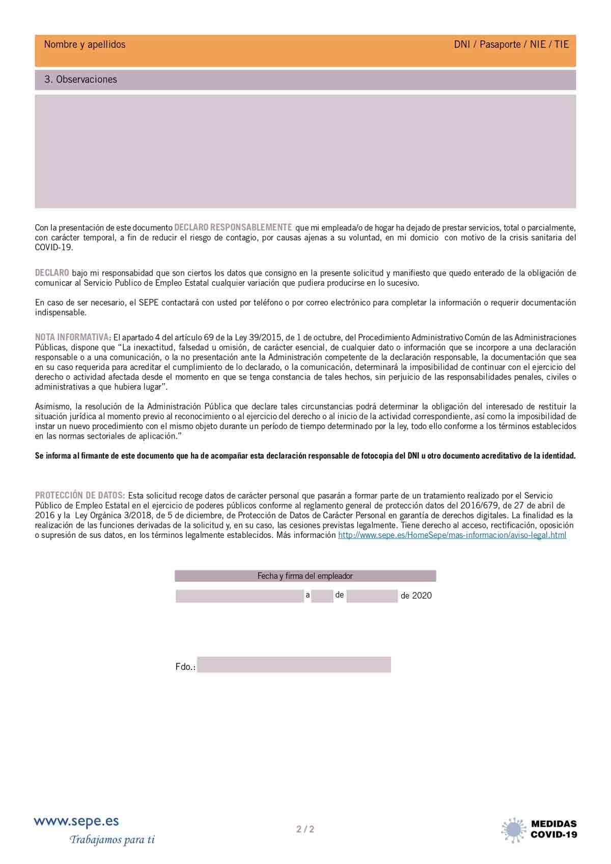 Declaración responsable empleadas del hogar página 2