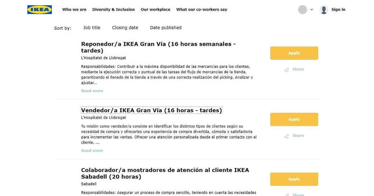 Cómo inscribirse en oferta de empleo en IKEA