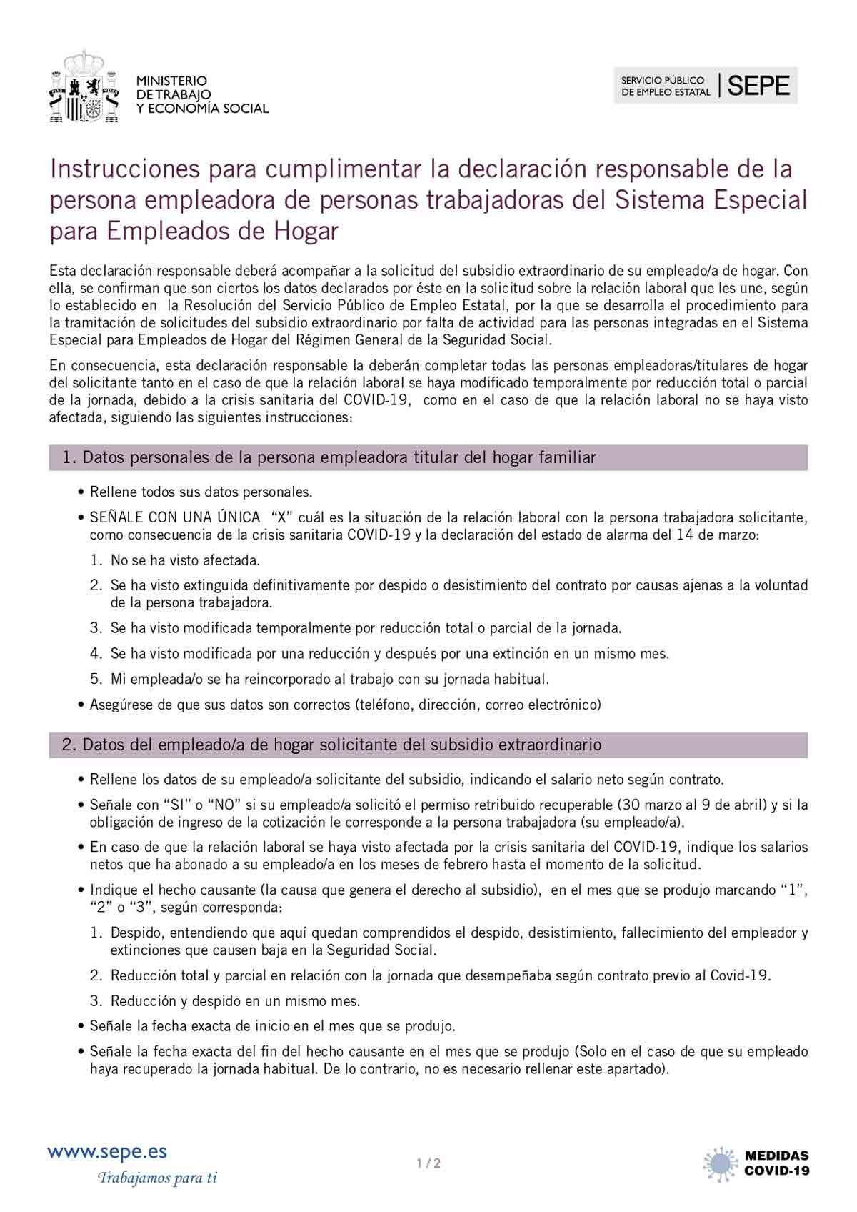 Instrucciones para el empleador página 1