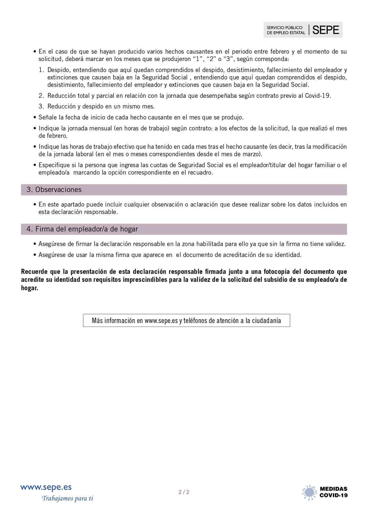 Instrucciones para el empleador página 2