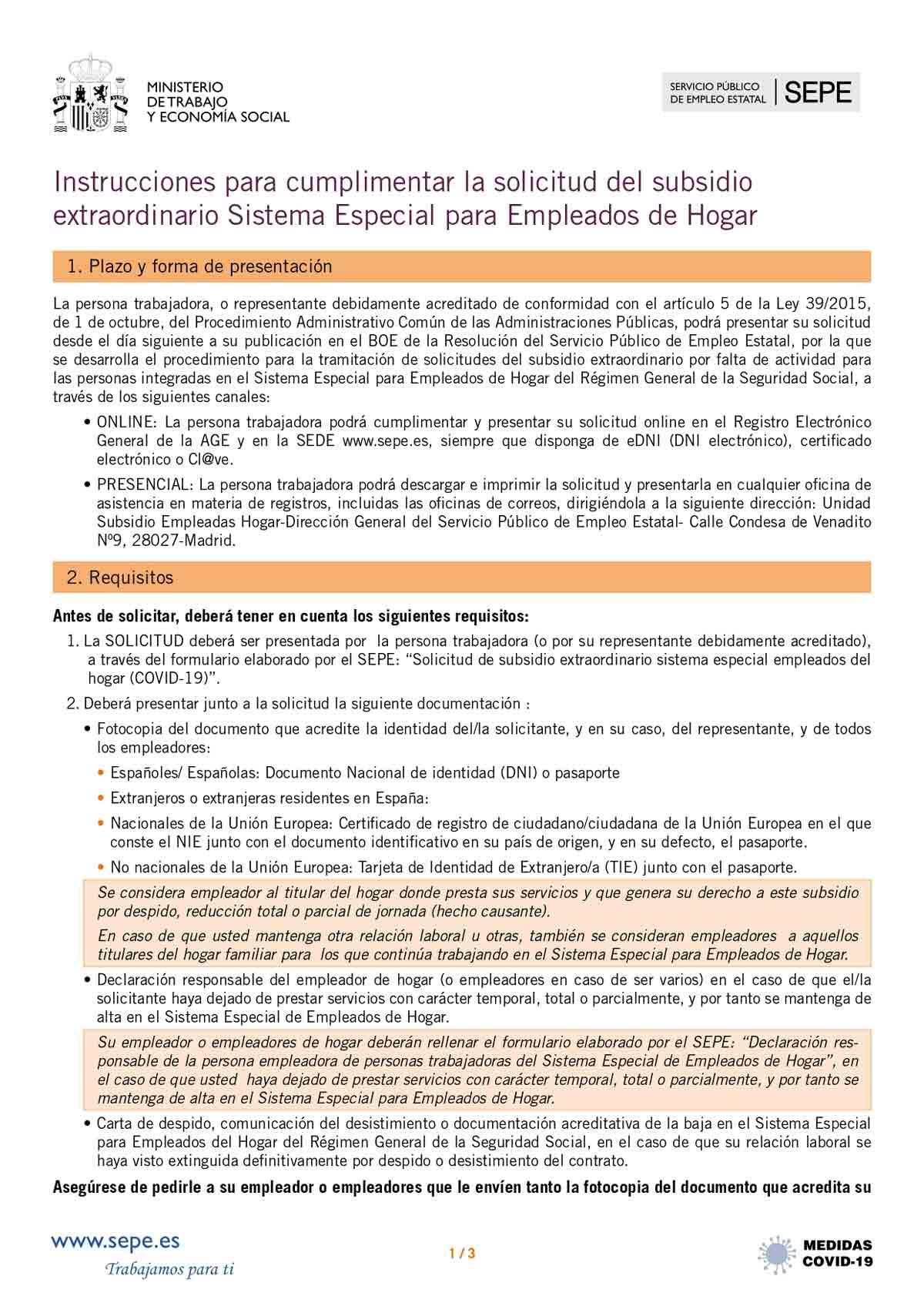 Instrucciones solicitud subsidio página 1