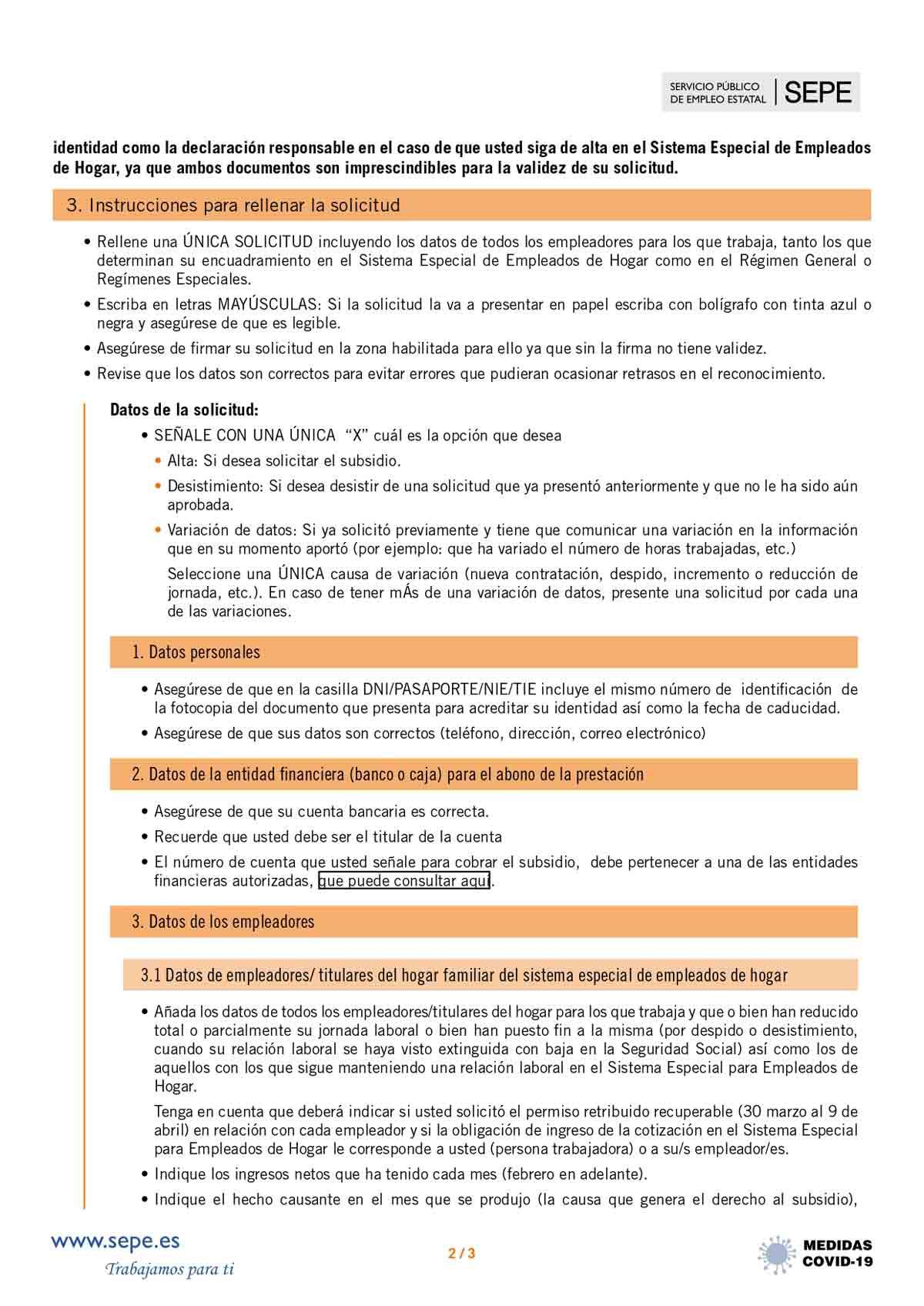 Instrucciones solicitud subsidio página 2