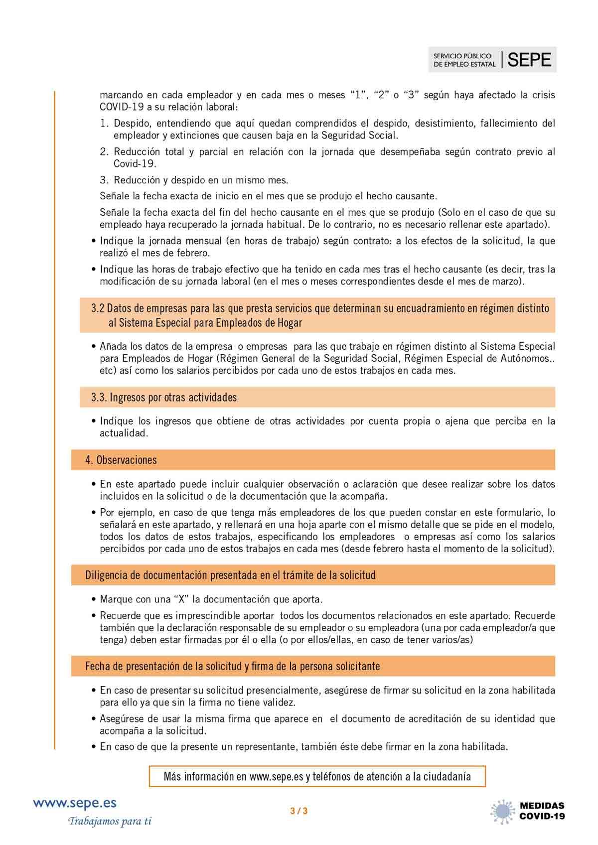 Instrucciones solicitud subsidio página 3