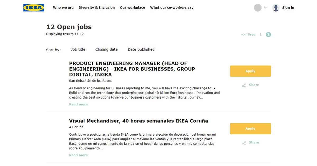 Oferta de empleo IKEA en inglés