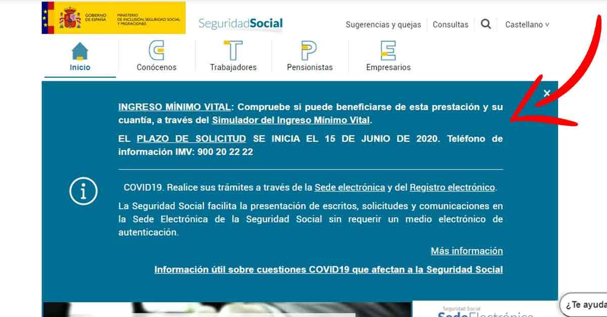 página inicio seguridad social